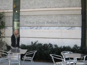 Alyssa Gaulrapp outside the Rollins School of Public Health at Emory University in Atlanta, GA.
